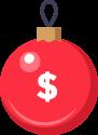 Ícone de bola de natal para o quadro Preço